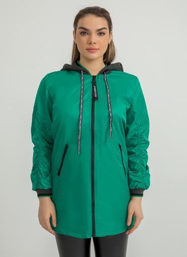 Foremia Soft Uzun Bomber Ceket Yeşil